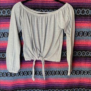 Off the shoulder long sleeve blouse